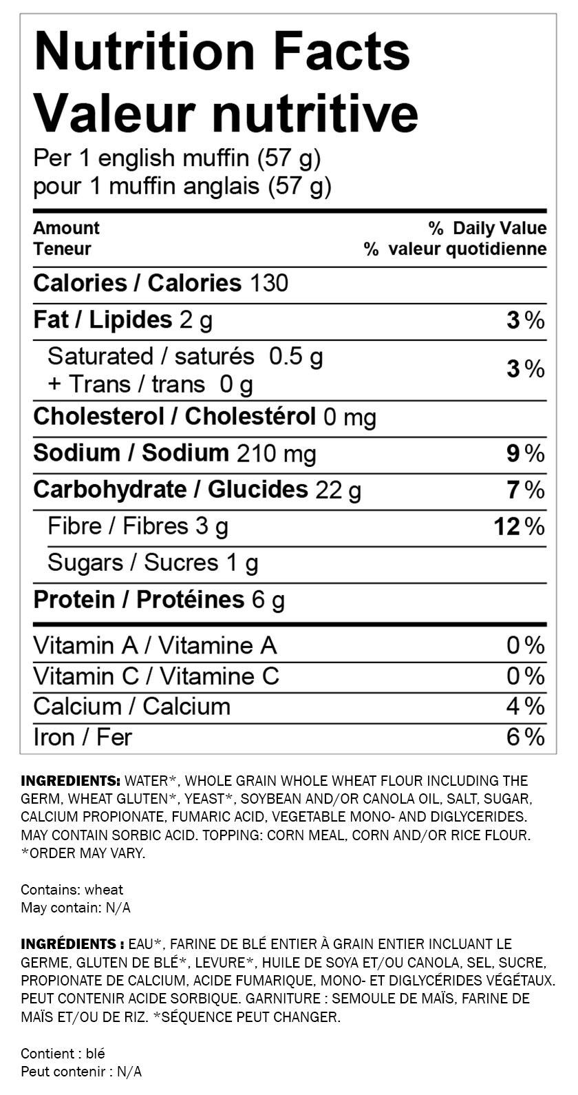 Nutritional information for Wonder® Whole Wheat English Muffin 6pk