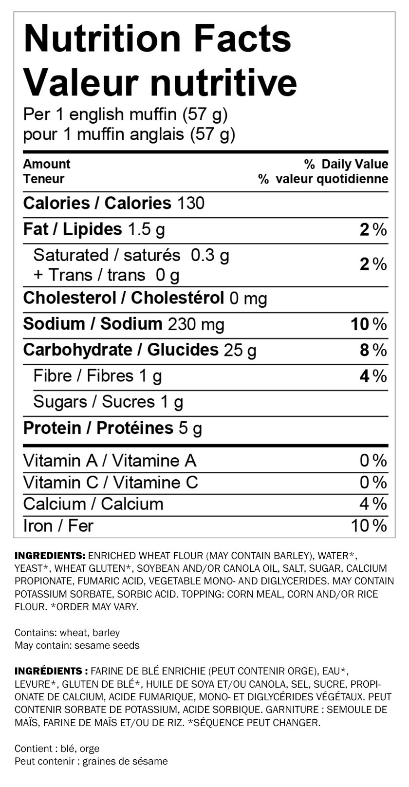 Nutritional information for Wonder® White English Muffin 6pk