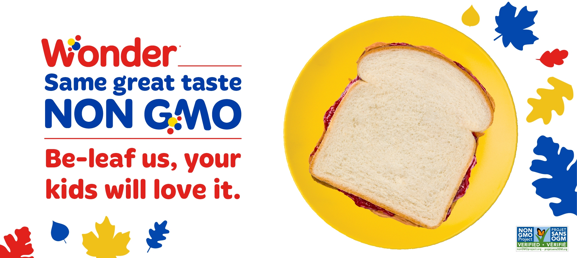 Wonder NonGMO logo with peanut butter and jelly sandwich on yellow plate with blue and red leaves
