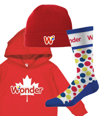 Wonder branded hat, hoodie and socks