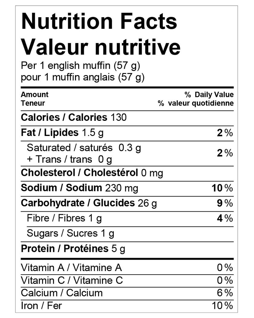 Nutritional information for Wonder® White English Muffins 12pk