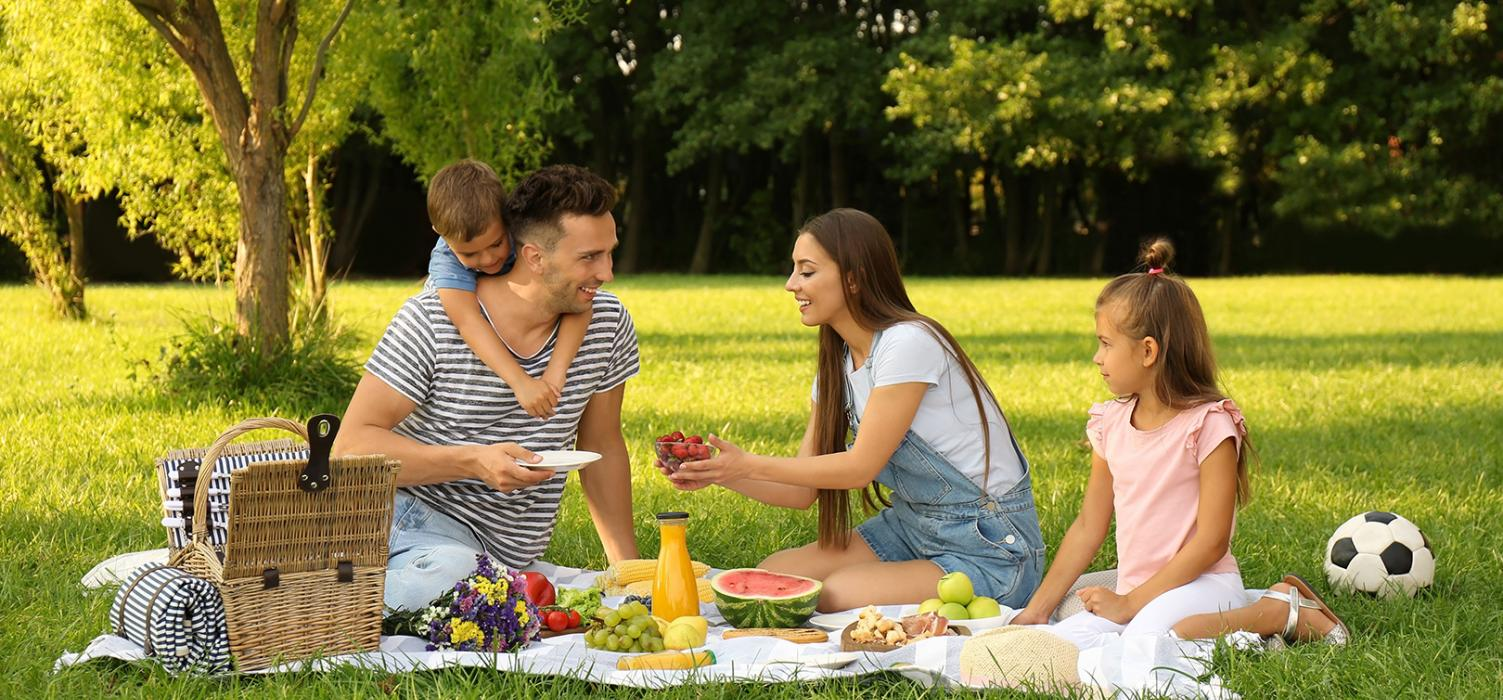 Mother, father, daughter and young son enjoying a picnic outdoors