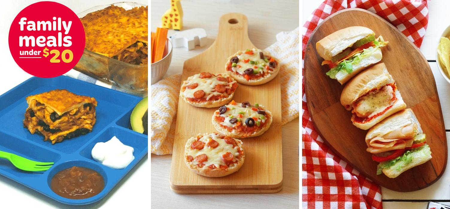 Wonder Meals Under 20 Blog Header photo featuring Wonder Mexican Lasagna, Wonder English Muffin Pizzas and Wonder Submarine Sandwiches